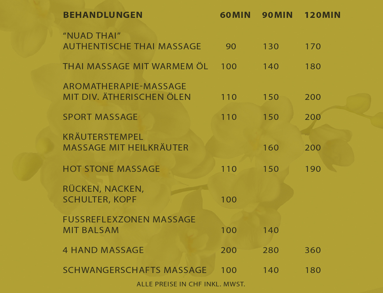 Preisliste Siam Golden Massage